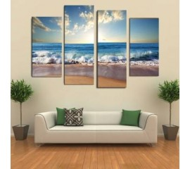 4 Piece Canvas Beach Art
